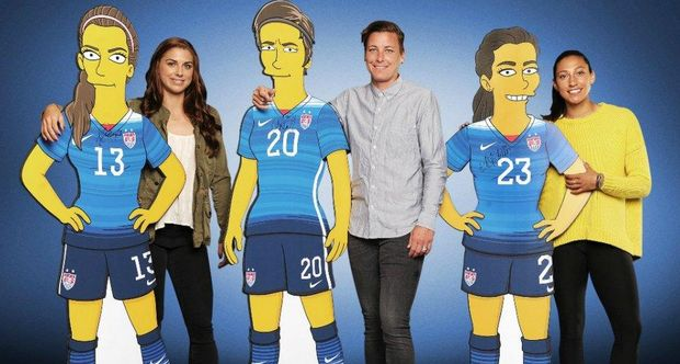 On The Simpsons: From left: Alex Morgan, Alex Morgan, Abby Wambach, Abby Wambach, Christen Press, and Christen Press.