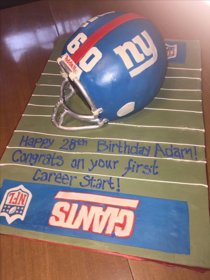 NY Giants helmet cake