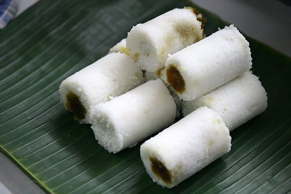 Kue putu - an Indonesian sweet coconut cake that is similar to klepon, except that it's cylindrical in shape whilst klepon is spherical.