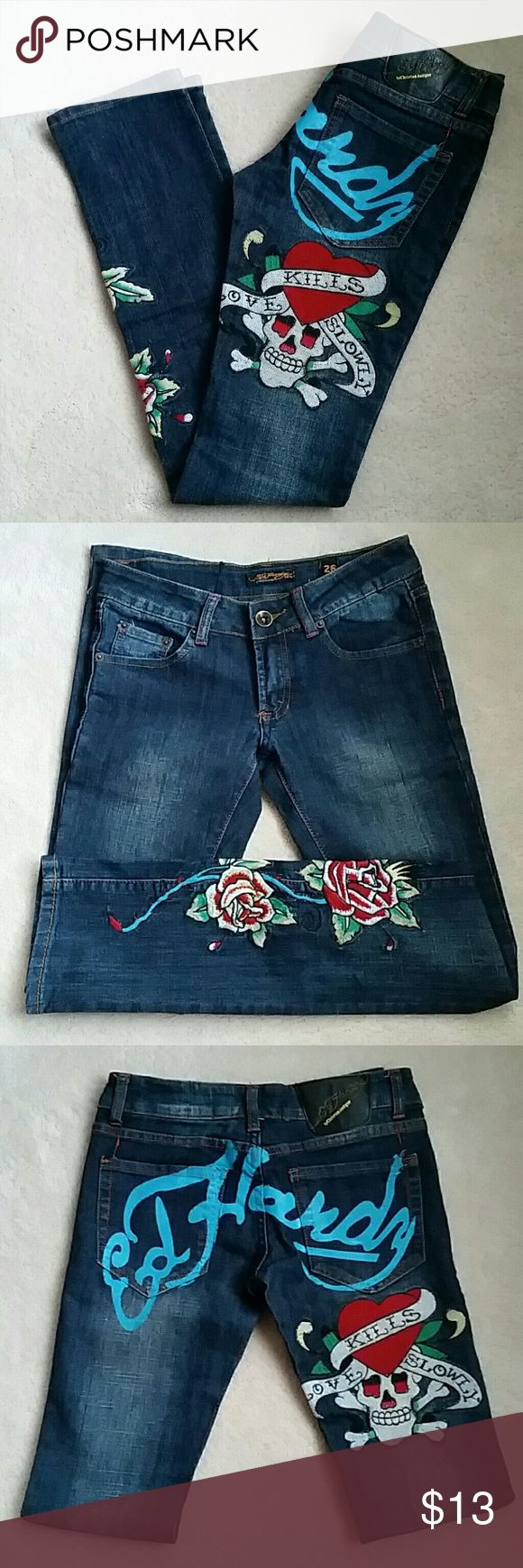 Womens Ed Hardy By Christian Audigier Jeans Selling: A pair of women's jeans with leg and back pocket embroidery  Size: 26 Great quality and Great Condition Christian Audigier Jeans Straight Leg