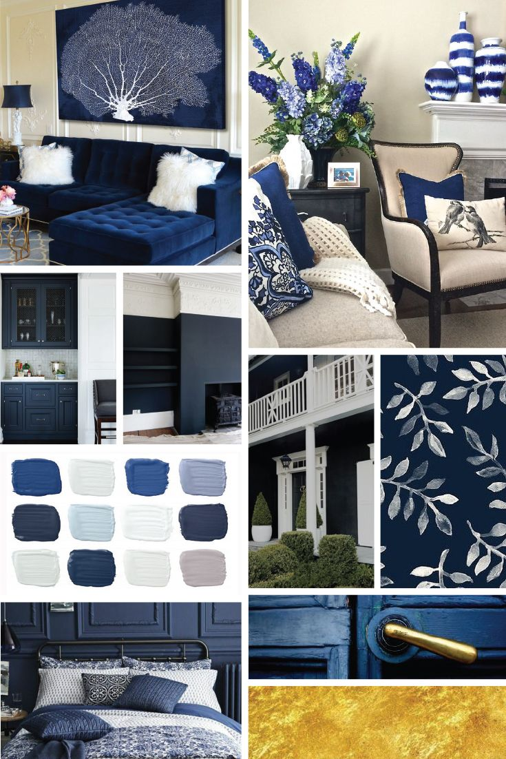 Best Colour Inspiration Mood Board Navy Gold White Grey Cream 400 x 300