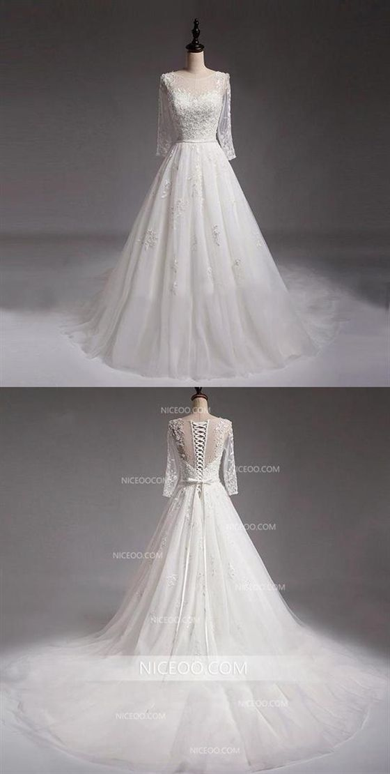8ab1cd1261f577 White Round Neck Long Sleeves A Line Wedding Dresses Best Bride Gown   wedding  white  dresses  longsleeve