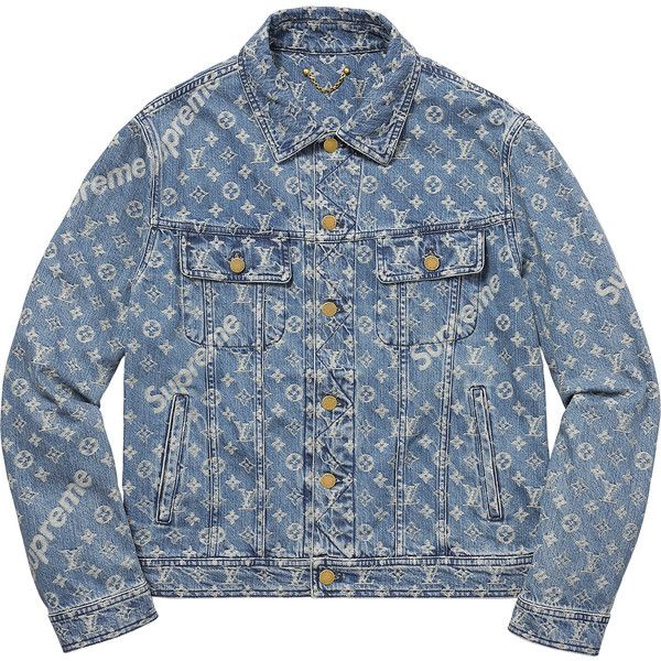 Supreme Louis Vuitton/Supreme Jacquard Denim Trucker Jacket ❤ liked on Polyvore featuring outerwear, jackets, denim jacket, louis vuitton, louis vuitton jacket, blue jackets and blue denim jacket