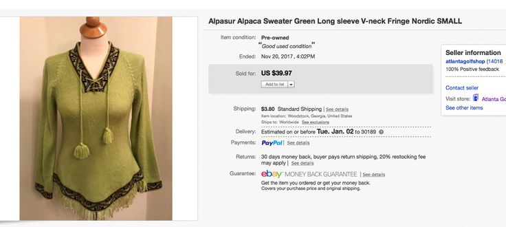 100% alpaca sweater $3 at thrift store, sold for $31 on best offer