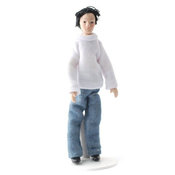 1//12 Dolls House Miniature Porcelain Dolls People Man In Stripe Suit DIY
