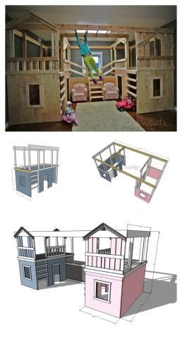 DIY Basement Indoor Playground with Monkey Bars - plans from ana-white.com