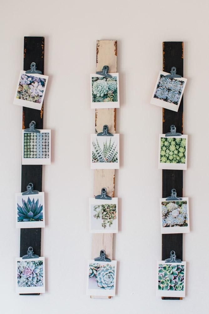 A cheap and clever way to display small photos. #DIY