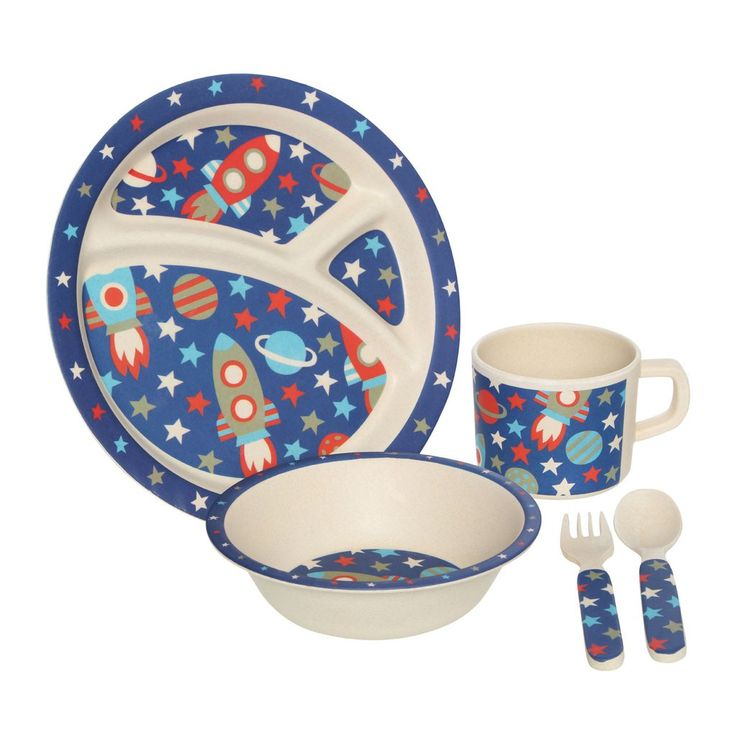 Make mealtimes more fun for your little ones with our 5 piece kids dinner set featuring cool and funky space design. The set includes 1 x dinner plate, 1 x bowl
