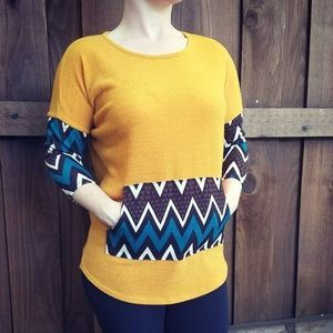 I just discovered this while shopping on Poshmark: NEW Chevron Pocket Knit Top S,M,L 3/4 Sleeve. Check it out! Price: $24 Size: Various