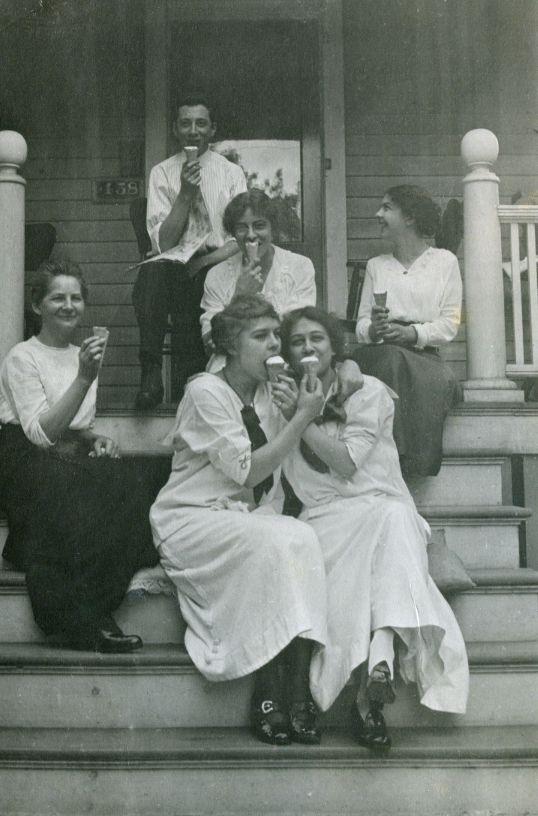 1915, fun photo with ice cream... love the smiles