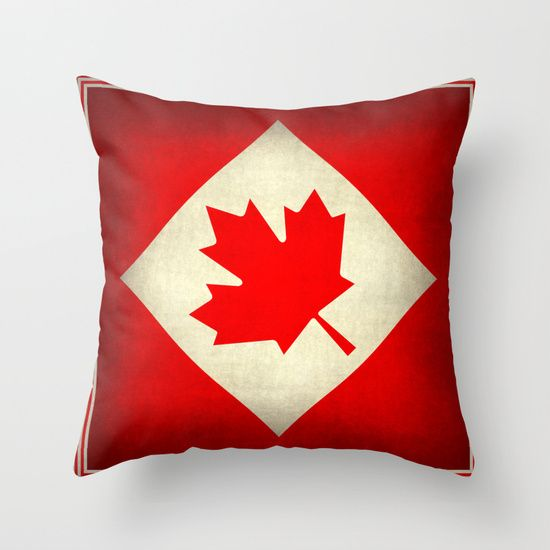 Canada flag, grunge treated edition in square format Throw Pillow #Canada #ohCanada #Canadian #Canadien #maple #mapleleaf