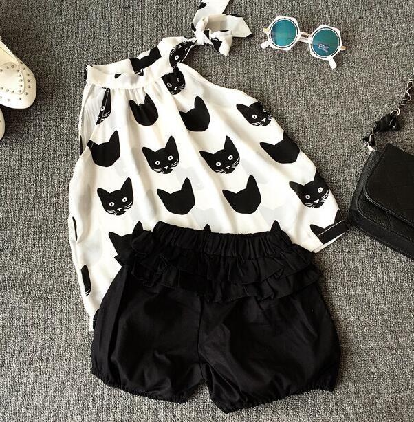 2016 del verano del bebé gato blusa negro pantalones cortos que arropan el sistema, niños de la manera 2 unids trajes, WZLCA10