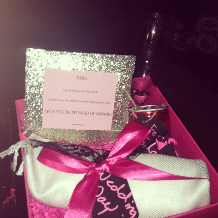 My will you be my maid of honor present! A wrap for the winter wedding, a tiny can of champagne for today, a champagne glass for everyday and a sweet note all in a pretty sparkly pink box! How could I say anything but yes!