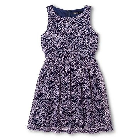 Penelope Tree Girls' Zig Zag Pattern Skater Dress Navy Pennant