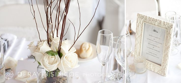 White roses + twigs + ornate framed menus = classic perfection
