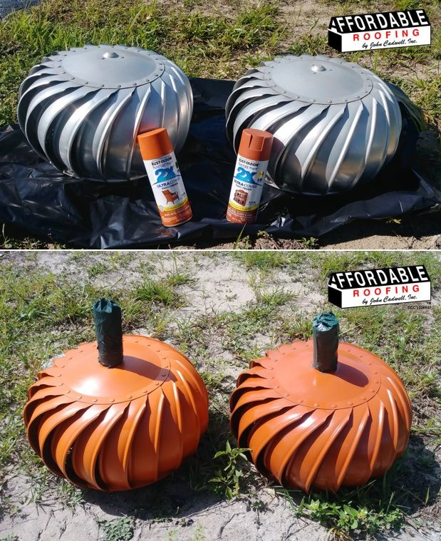 Upcycle Or Repurpose Old Roofing Whirly Bird Vents Into Pumpkins Affordable Roofing Upcycle Crafts