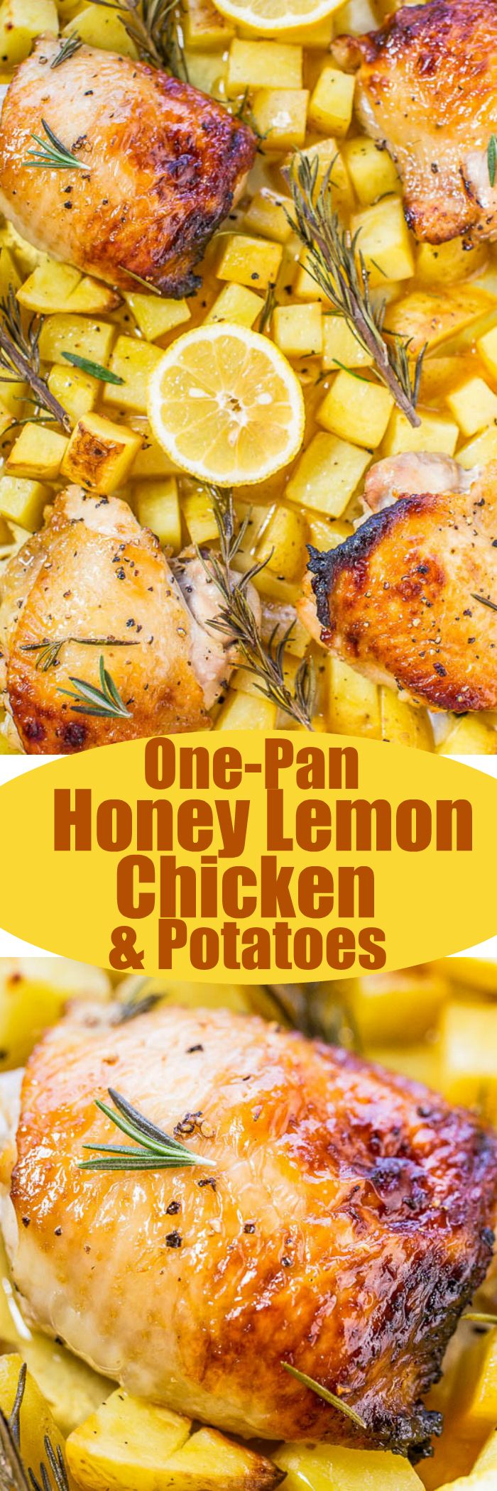 One-Pan Honey Lemon Chicken and Roasted Potatoes - Juicy chicken with a honey lemon glaze that's tangy-sweet and so good!! Healthy, fast, so easy, and cleanup is a breeze!!