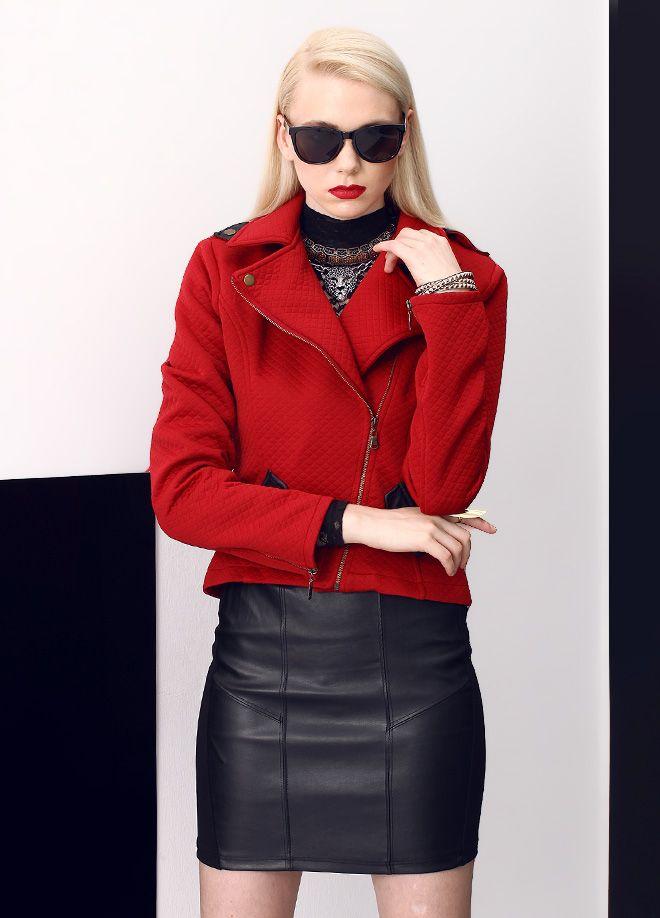 Stil Aşkı: Kırmızılı Siyahlı Ceket Markafoni'de 180,00 TL yerine 59,99 TL! Satın almak için: http://www.markafoni.com/product/5505440/ #ceket #moda #jacket #girl #fashion #red #black