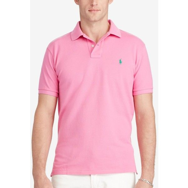 Polo Ralph Lauren Men's Classic-Fit Mesh Polo ($85) ❤ liked on Polyvore featuring men's fashion, men's clothing, men's shirts, men's polos, pink, mens mesh shirt, mens polo shirts, mens pink polo shirt and mens pink shirts