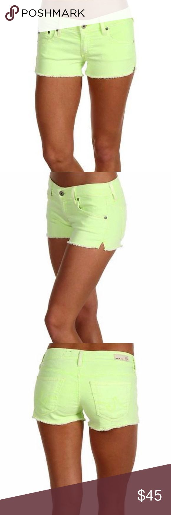"AG Jeans 'The Daisy' Neon Green Shorts The Daisy Super Low-Rise Shorts in Neon Melon by AG Jeans. Size 26. Really cute neon green cut offs, perfect for summer! Super soft denim with a lot of stretch!  Material: 55% cotton; 42% Tencel; 3% PU. - Rise: 7.25"" **tiny spot on back left pocket- see photos- will likely come out, I can try to do it before sending if needed. Ag Adriano Goldschmied Shorts Jean Shorts"