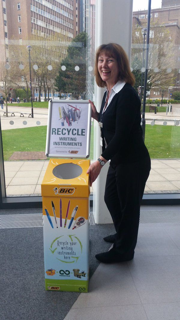 Aston Uni Library says: 'We recycle our pens thanks to our fancy @TerraCycleUK bin' #GreenUniLibrary