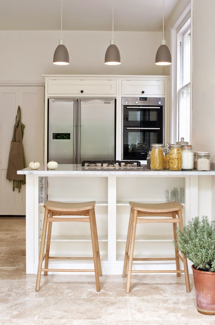 The Tunbridge Wells Shaker Kitchen By DeVOL, With Premium Classic  Travertine From Floors Of Stone. Space For Recipe Books