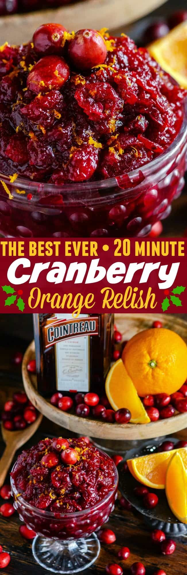 Cranberry Orange Relish: the best homemade fresh cranberry relish for your Thanksgiving dinner is made with orange zest and Cointreau in just 20 minutes!