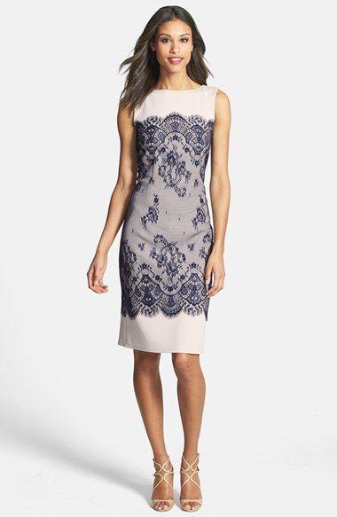 Tadashi Shoji Lace Overlay Sheath Dress available at #Nordstrom