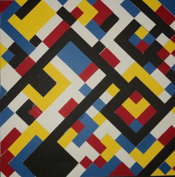 Nirmana Class, make pattern based of Piet Mondrian. Media: Vinyl Sticker and Black Linen Carton