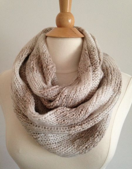 Cowl Neck Scarf in beige and white striped pattern - Sacs On Jenkins