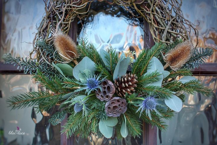 A slightly different take on a Christmas wreath - very natural and green.