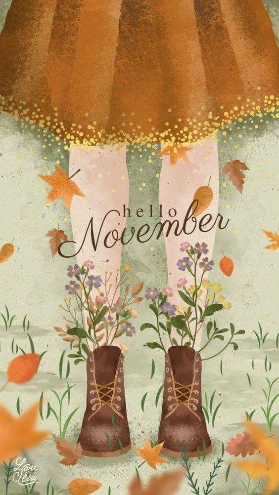 Hallo November druckbare Illustration für Herbst #falldruckbare # Herbst #falldec …