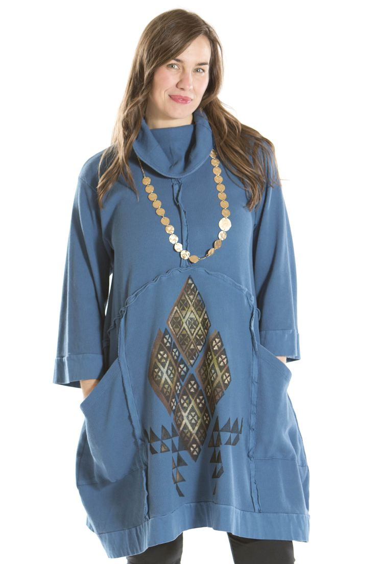 reflection thermal tunic printed blue fish clothing was