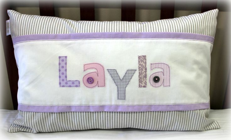 Layla Name Scatter in pink, lilac & stone #cotlinen #Layla #nursery #babyroom #pink&grey #name Designed by: Tula-tu Baby Linen