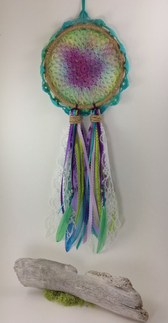 Dreamcatcher Tie Dyed Doilie Rustic Handcrafted by WildFernArt