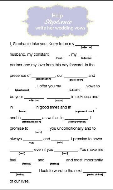 need help writing my wedding vows Thinking of writing your own wedding vows shows that you care about  is not  going to help you relax and be present at your own wedding - you'll miss out on  all the fun  and if they do, they still might need you to say specific words or use  a specific format  how do i want her to feel when i say my vows.