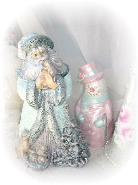 Aqua SANTA Claus St Nick Figurine Victorian by RoseChicFriends, $19.99St Nick, Santa Clause, Figurines Victorian, Blue Christmas, Shabby Chic, Aqua Santa, Clause St, Nick Figurines, Things Shabby