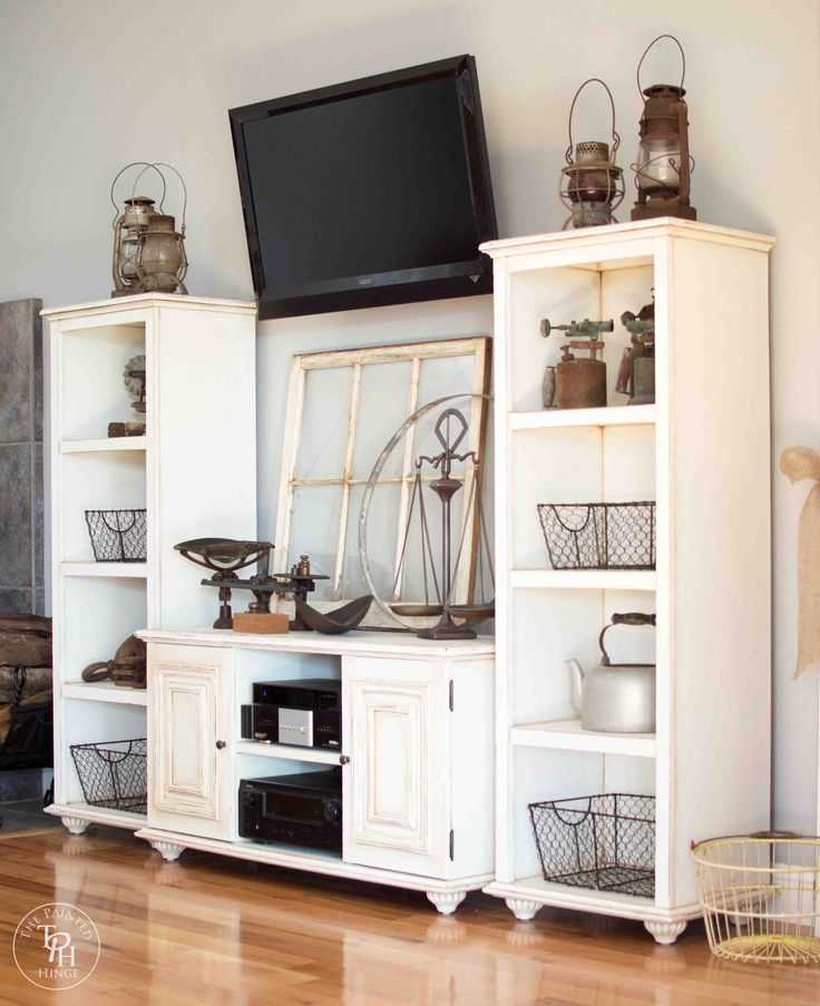 DIY Entertainment Center Makeover by The Painted Hinge  ~ shared at Brag About It Link Party on VMG206 (Monday's at Midnight). #BragAboutIt