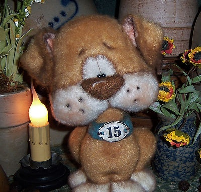 "Primitive Bulldog 7"" Dog Bear French Tag Fuzzy Terrier Doll Vtg Patti's Ratties"