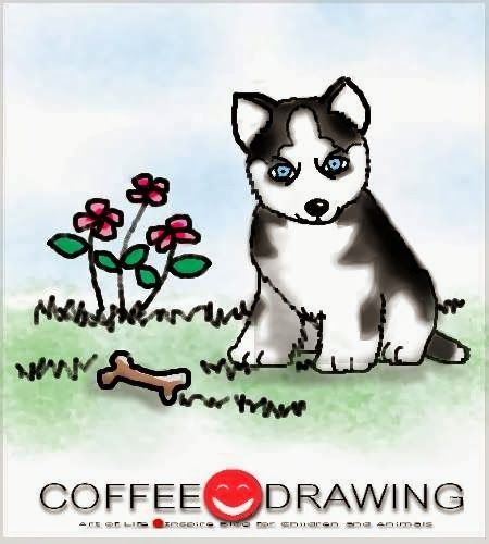 HOW TO DRAW STEP by STEP FOR KIDS PART 44 [ ลูกสุนัข ไซบีเรียน ฮัสกี้ ,Siberian husky puppy] | COFFEE-DRAWING