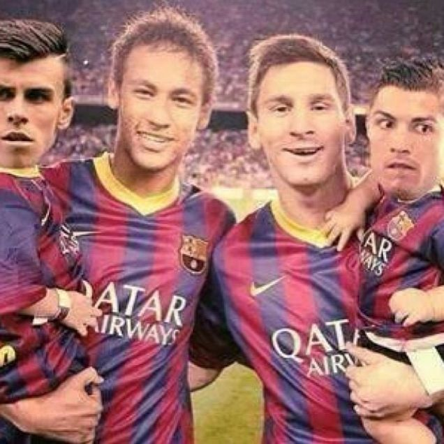 Image result for messi and neymar holding bale and ronaldo funny pictures