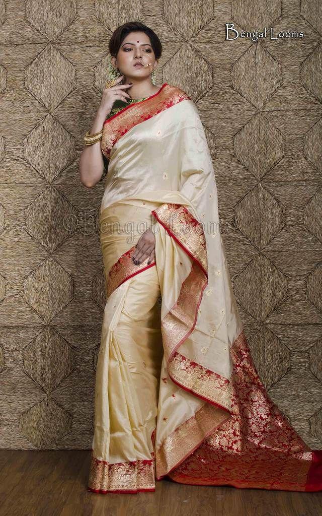 2d07fb77f5 Pure Korial Banarasi Silk Saree in Cream and Red   Banarasi Saree ...