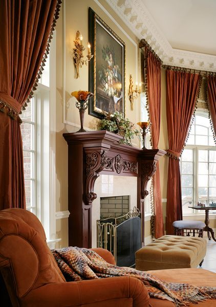 Room Decor With Magnificent Wood Carved Fireplace Mantel And Carved Wood Sconces Stately