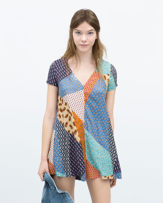 Image 1 of PATCHWORK PRINT JUMPSUIT from Zara