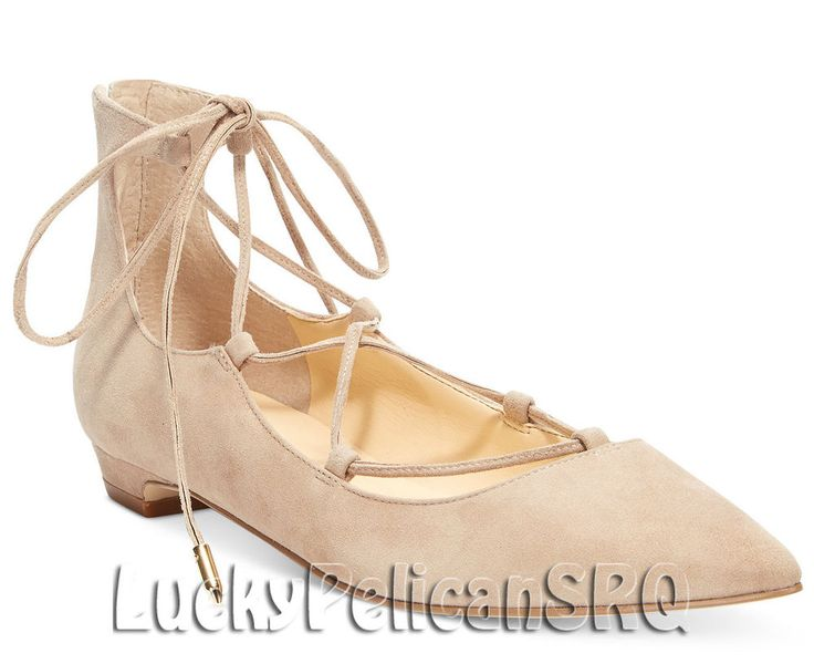 Ivanka TrumpTropica Lace-Up Flats Light Nude Beige Suede M(Medium) NWB #