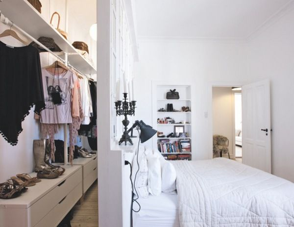 """Guest House bedroom closet idea - return wall behind bed in what was the """"live room"""""""