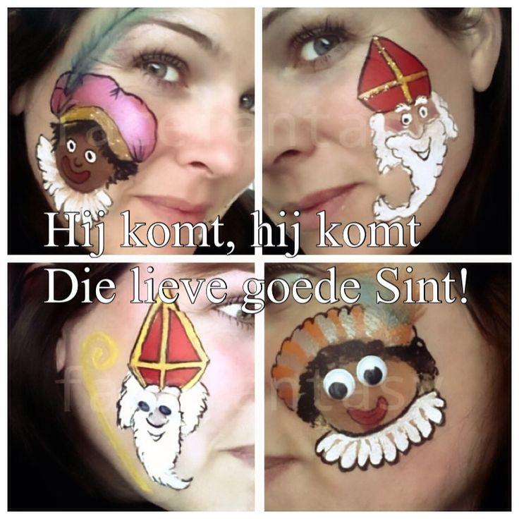 Kinderschmink Sinterklaas en zwarte piet Schminken Sinterklaas  Face Fantasy Amersfoort