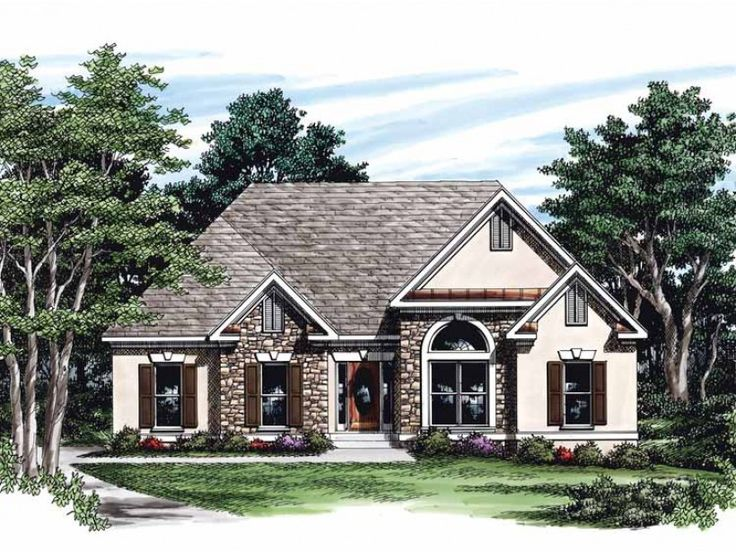 french country style 1 story 3 bedroomss house plan with 1860 total square