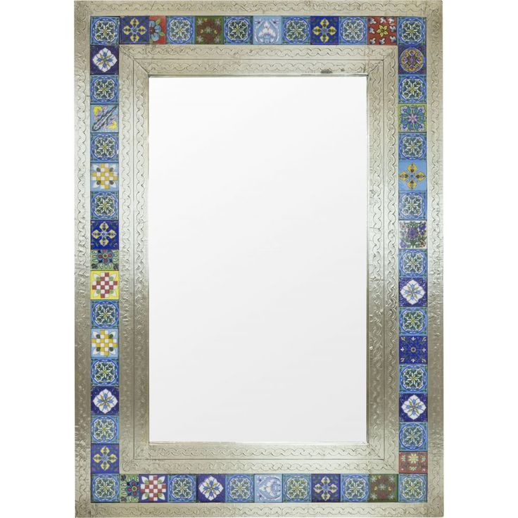 Mexico has long been renowned for its beautiful and uniquely original tin mirror frames, this mirror has been made to replicate those seen in the villas of Mexico. Each tile has been hand painted by skilled artisans and each frame is also handmade and beaten. This is a highly artistic and decorative design.