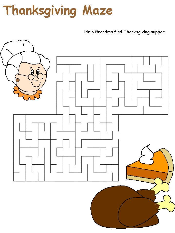 3 Thanksgiving mazes Thanksgiving Worksheets For Kindergarten Fall Thanksgiving